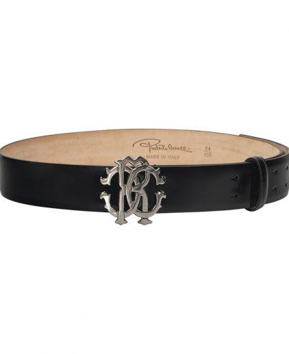 Roberto Cavalli Black Patent Leather Belt 36 Inch