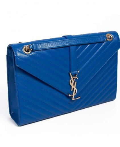 Saint Laurent Blue Leather Monogram Envelope Shoulder Bag