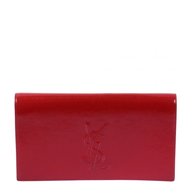 Saint Laurent Paris Red Patent Leather Belle De Jour Flap Clutch