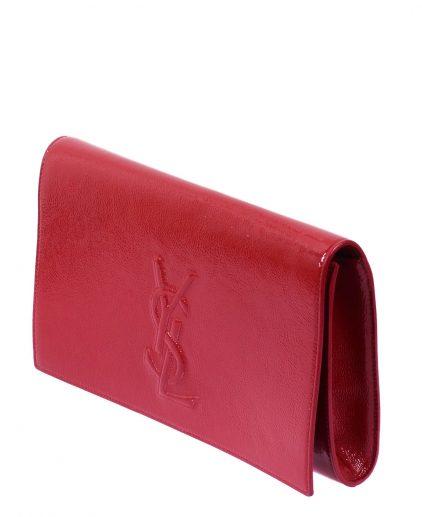 Saint Laurent Paris Red Patent Leather Belle De Jour Flap Clutch