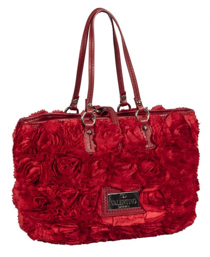 Valentino Rosier Red Ruffled Leather Tote