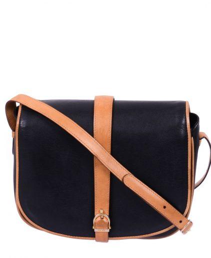Celine Vintage Black Brown Leather Crossbody Bag