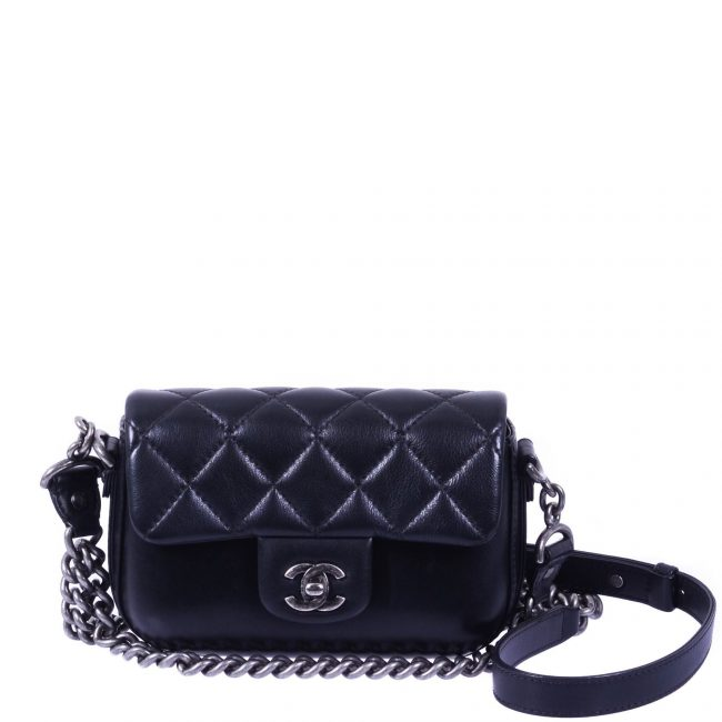 Chanel Black Quilted Leather Flap Bag Boy Chain Bag