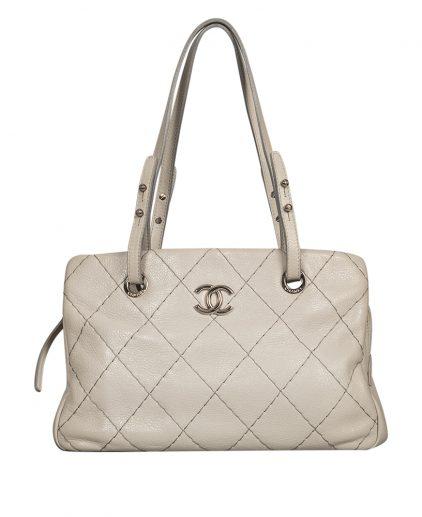 Chanel Grey Matelasse Leather Shoulder Handbag