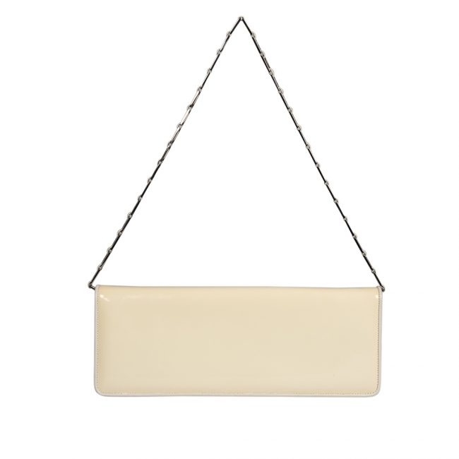 Salvatore Ferragamo White Patent Leather Clutch