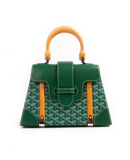 Goyard Green Coated Canvas Leather PM Saigon Top Handle Bag
