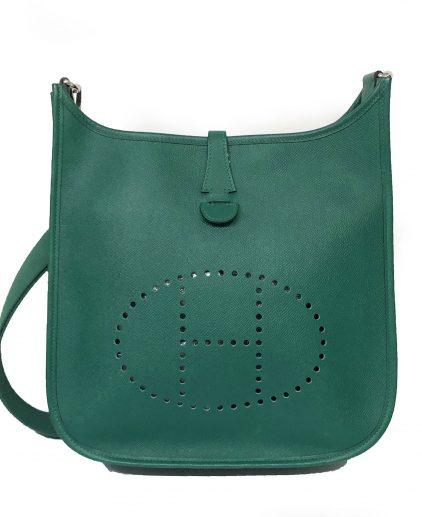 Hermes Green Epsom Leather Evelyn Handbag