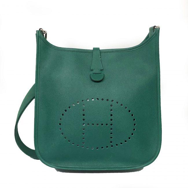Hermes Green Epsom Leather Evelyn Handbag