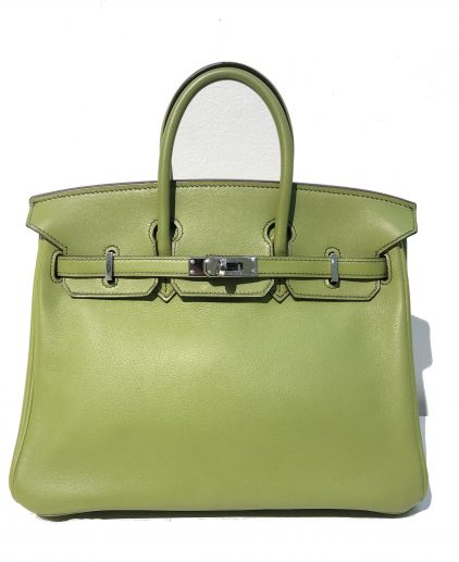 Hermes Vert Anis Swift Leather Birkin 25 Handbag
