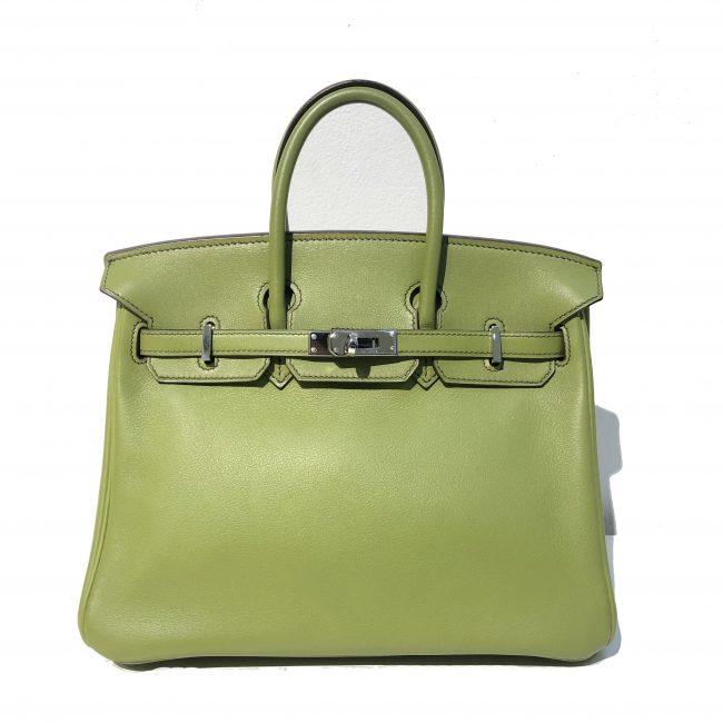 Hermes Vert Anis Swift Leather Birkin 25 Handbag