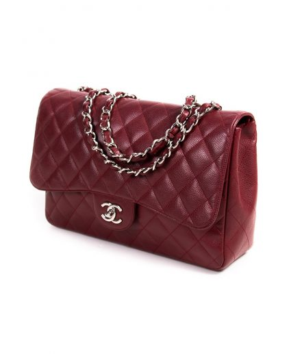 Chanel Burgundy Caviar Quilted Leather Jumbo Classic Single Flap Bag