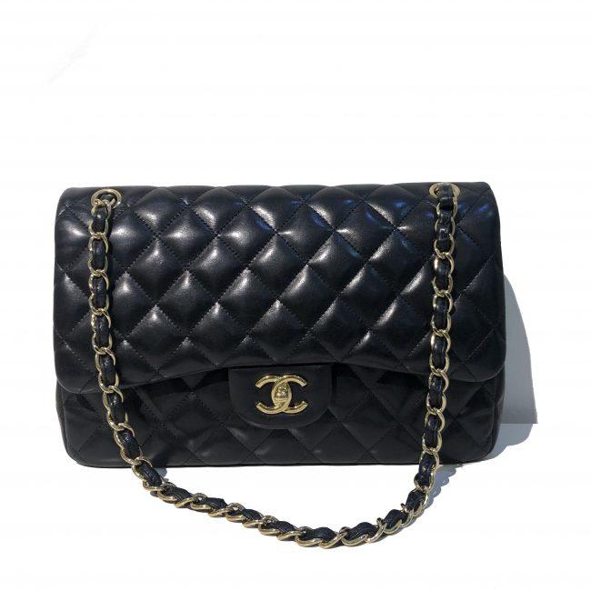 Chanel Black Lambskin Leather Jumbo Double Flap GHW Handbag