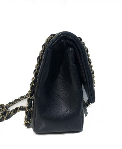 Chanel Black Lambskin Leather Jumbo Double Flap GHW Handbag