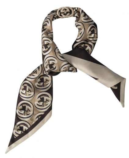 Gucci Printed Silk Brown GG Ring Detail Bandeau Scarf