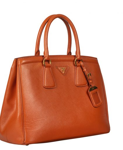 Prada Orange Saffiano Leather Parabole Tote Handbag