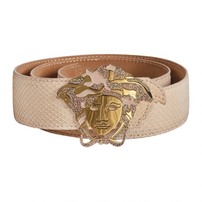 Versace Pink Exotic Leather Medusa Buckle Belt 32 Inch
