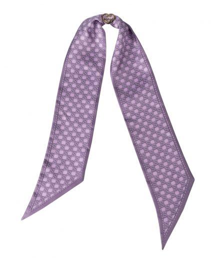 Gucci Printed Silk Purple GG Ring Detail Bandeau Scarf