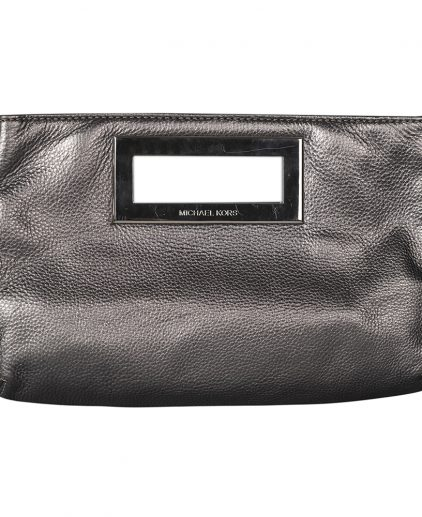 Michael Kors Metallic Silver Leather Berkley Clutch