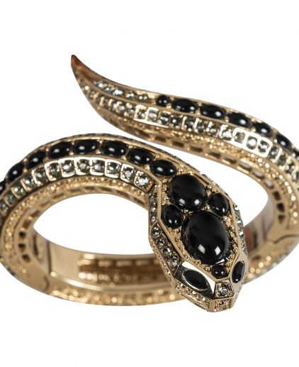 Roberto Cavalli Gold Black Crystal Embellished Serpent Head Bracelet