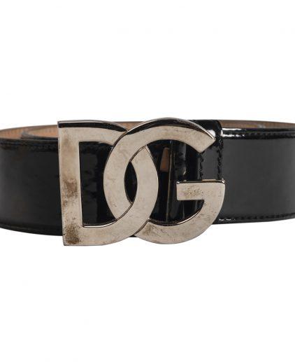 Dolce & Gabbana Black Leather D&G Buckle Belt 30 Inch