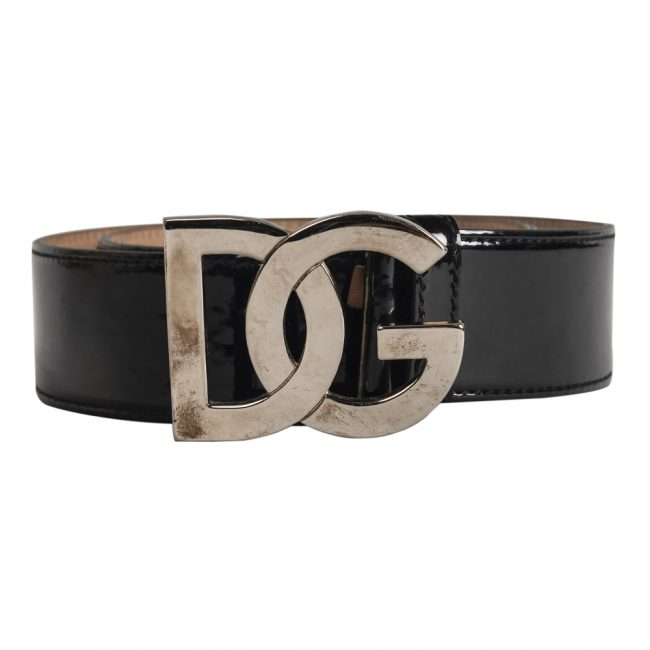 Dolce & Gabbana Black Leather D&G Buckle Belt 30 Inch