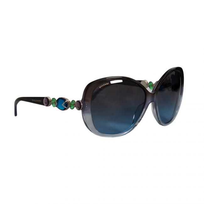 Bvlgari Blue Jeweled 8080-B Cat Eye Sunglasses