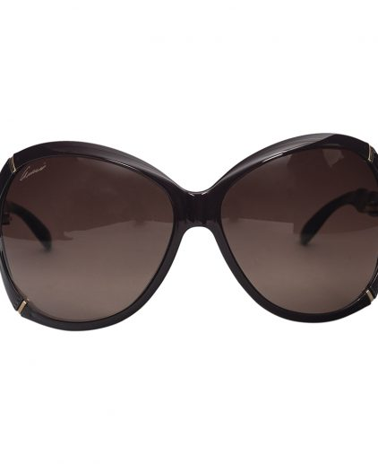 Gucci Dark Brown Bamboo Effect Oversize Square Women Sunglasses
