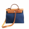 Hermes Blue Canvas Brown Leather Herbag Zip 31 Handbag