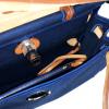 Hermes Blue Canvas Brown Leather Herbag Zip 31 Handbag