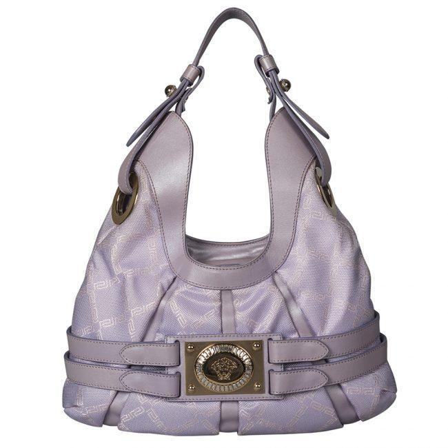 Versace Purple Fabric Leather Shoulder Belt Bag