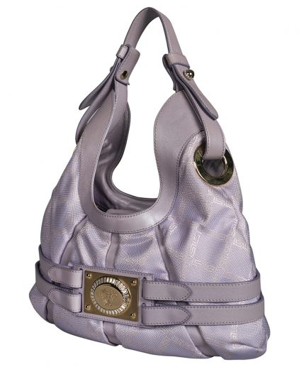 Versace Purple Fabric Leather Shoulder Belt Bag