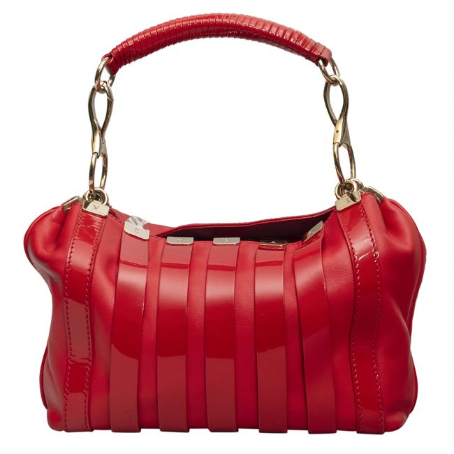 Versace Red Leather Patent Stripe Logo Shoulder Bag