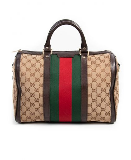 Gucci Brown Beige GG Canvas Medium Vintage Web Boston Bag