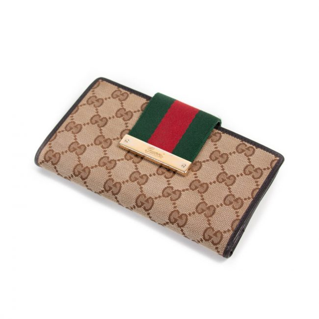 Gucci Red Beige GG Canvas Web Continental Wallet