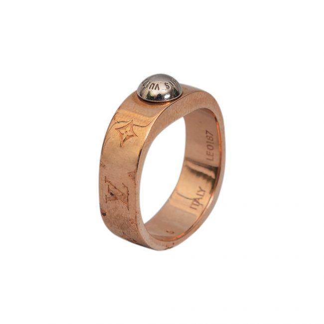 Louis Vuitton Gold Tone Nanogram Ring Size S