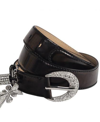 Swarovski Black Leather Embellished Belt