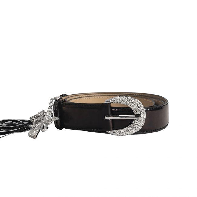 Swarovski Black Leather Embellished Belt