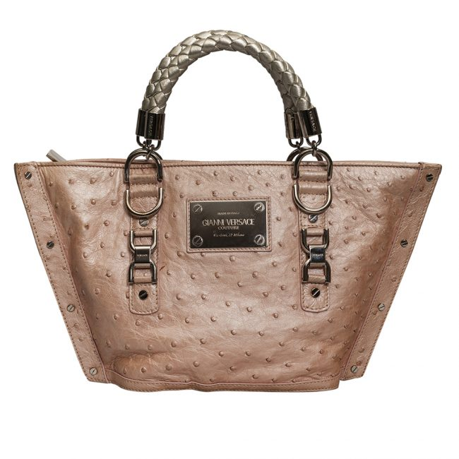Gianni Versace Couture Powder Pink Ostrich Leather Handbag