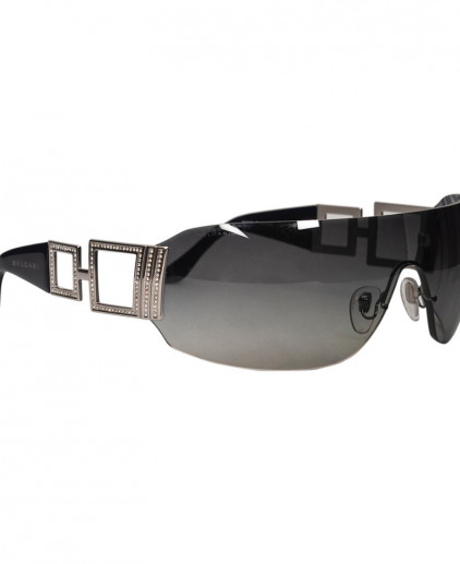 Bvlgari Black 6005-B Crystal Embellished Shield Sunglasses