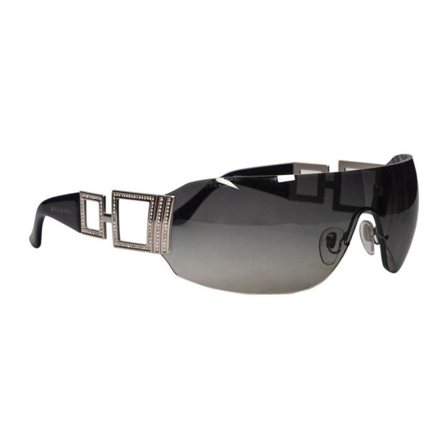 Bvlgari Black 6005-B Crystal Embellished Shield Sunglasses