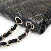 Chanel Perforated Black Leather Shoulder Handbag