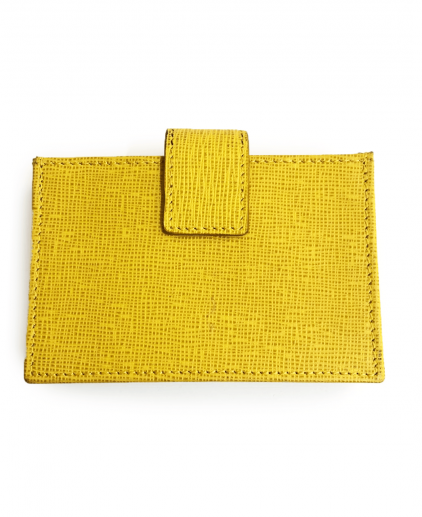Fendi Yellow Saffiano Leather Card Holder