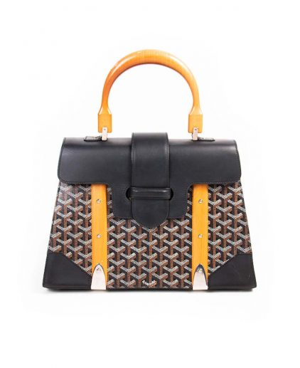 Goyard Black Coated Canvas Leather Saigon Top handle Handbag