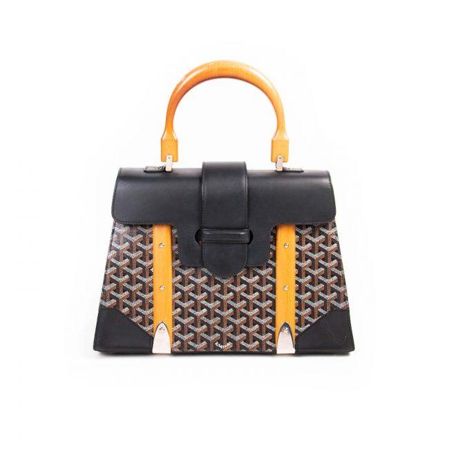 Goyard Black Coated Canvas Leather Saigon Top handle Handbag