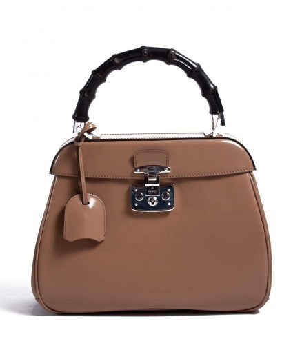 Gucci Lady Tan Leather Lock Top Handle Bag