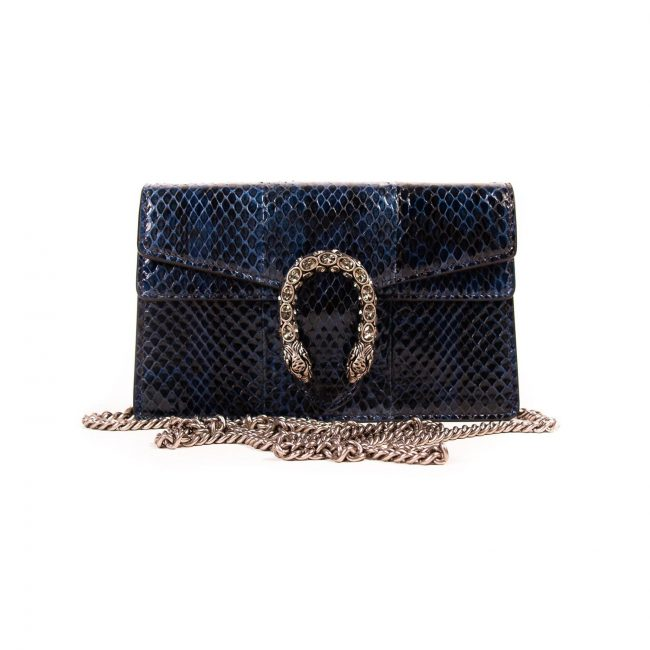 Gucci Navy Blue Exotic Leather Mini Dionysus Handbag