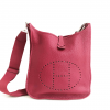 Hermes Pink Clemence Leather Evelyne III PM Bag