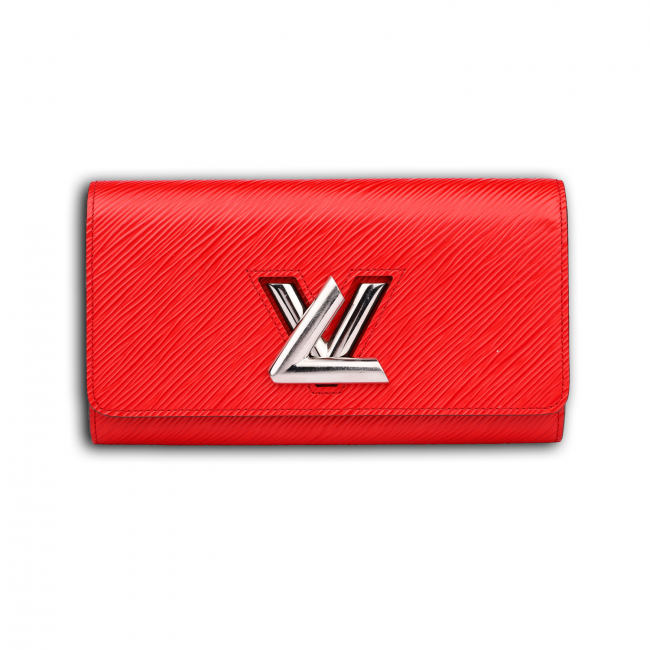 Louis Vuitton Red Coquelicot Epi Leather Twist Wallet