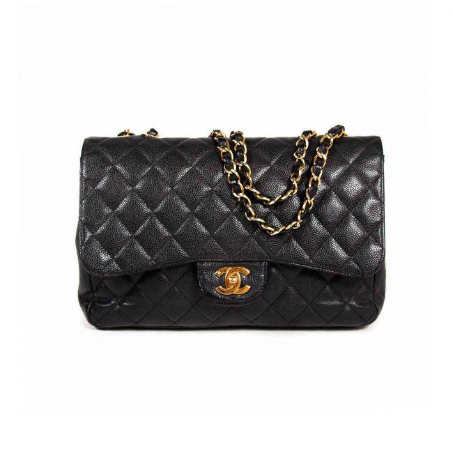 Chanel Black Quilted Caviar Leather Jumbo Classic Single Flap Handbag