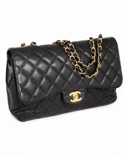 Chanel Black Quilted Caviar Leather Jumbo Classic Single Flap Handbag